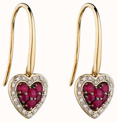 Elements Gold 9k Yellow Gold Ruby And Diamond Heart Drop Earrings GE2284R