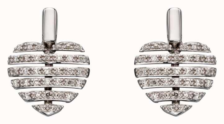 Elements Gold 9k White Gold Diamond Split Heart Earrings GE2298