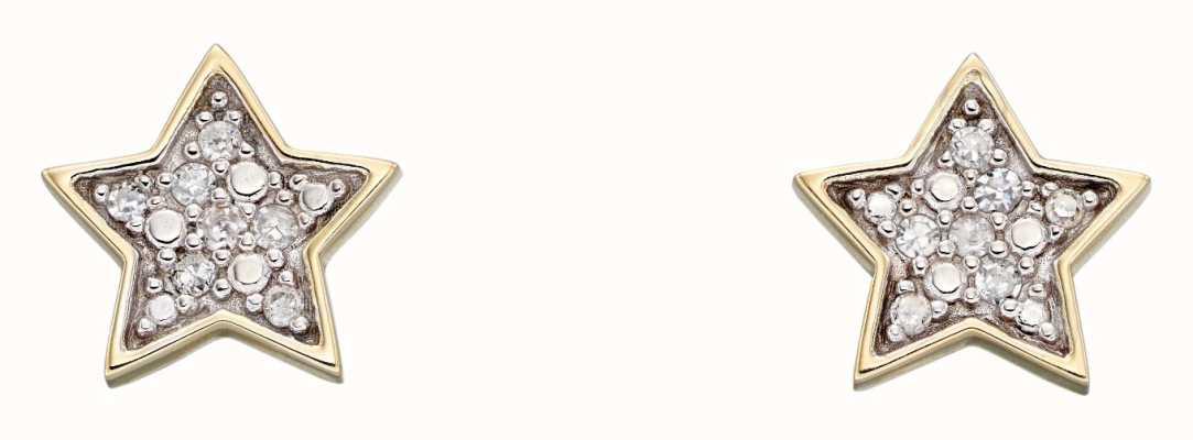 Elements Gold 9k Yellow Gold Diamond Star Stud Earrings GE2310