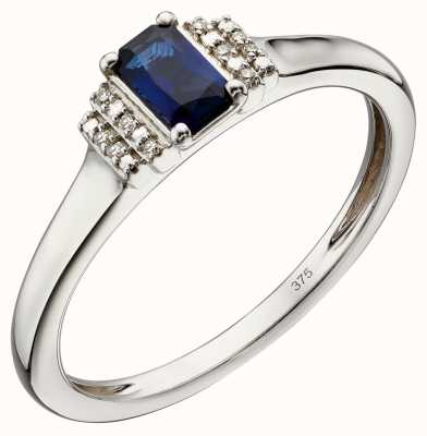 Elements Gold 9k Yellow Gold Sapphire And Diamond Deco Ring GR566L