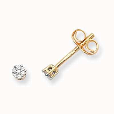 Treasure House 9k Yellow Gold Illusion Set Diamond Stud Earrings ED114