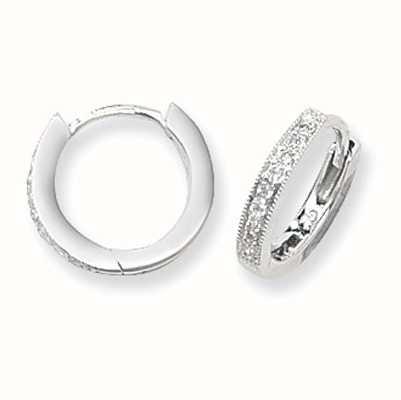 James Moore TH 9ct White Gold 12mm Diamond Hoop Earrings ED116W