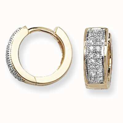 James Moore TH 9k Yellow Gold Diamond Set Huggies Hoop Earrings ED135