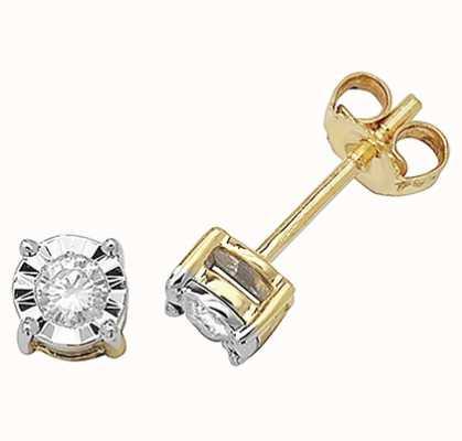 James Moore TH 9k Yellow Gold Diamond Stud Earrings ED144