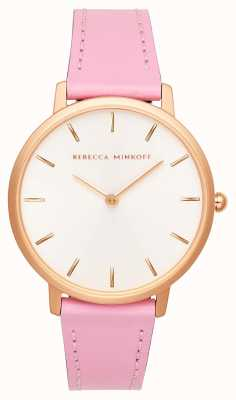 Rebecca Minkoff Womens Major | Pink Leather Strap | Silver/White Dial | 2200290