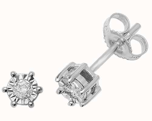 Treasure House 9k White Gold Illusion Set Diamond Stud Earrings ED166W