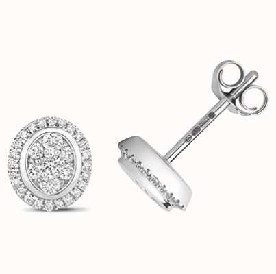 Treasure House 9k White Gold Diamond Cluster Oval Stud Earrings ED315W