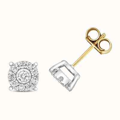 Treasure House 9k Yellow Gold Diamond Stud Earrings ED352