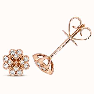 James Moore TH 18k Rose Gold Diamond Clover Stud Earrings EDQ315R