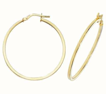 James Moore TH 9k Yellow Gold Hoop Earrings 30 mm ER1007-30