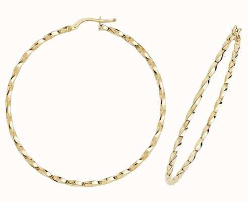 James Moore TH 9k Yellow Gold Hoop Earrings 50 mm ER1008-50