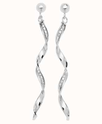 James Moore TH 9k White Gold Drop Earrings ES566W