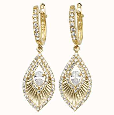 James Moore TH 9k Yellow Gold Cubic Zirconia Drop Earrings ER1102