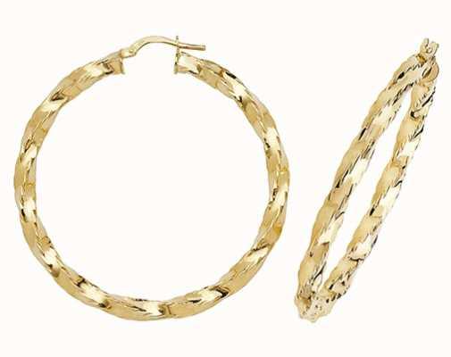 James Moore TH 9k Yellow Gold Hoop Earrings 35 mm ER136