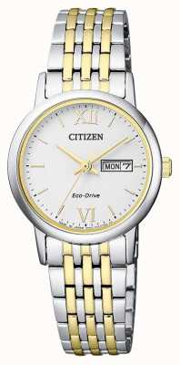 Citizen | Womens Eco-Drive | Two-Tone Bracelet | Silver Dial | EW3254-87A