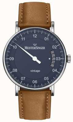 MeisterSinger | Mens Vintago | Automatic | Brown Leather | Blue Dial VT908