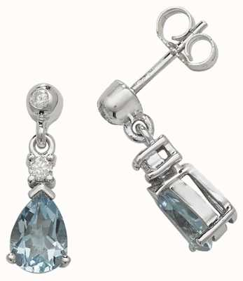Treasure House 9k White Gold Aquamarine Diamond Drop Earrings ED245WAQ