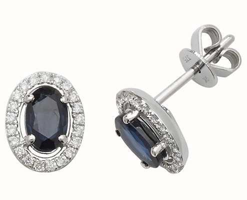 Treasure House 9k White Gold Sapphire Diamond Halo Stud Earrings ED247WS