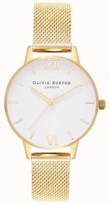 Olivia Burton | Womens | White Dial | Gold Mesh Bracelet | OB16MDW35