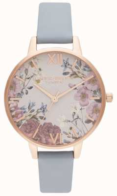Olivia Burton | Womens | British Blooms | Chalk Blue Leather Strap | OB16EG132