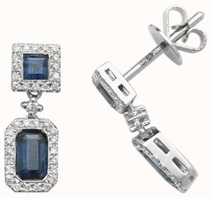 Treasure House 9k White Gold Diamond Sapphire Drop Earrings ED253WS
