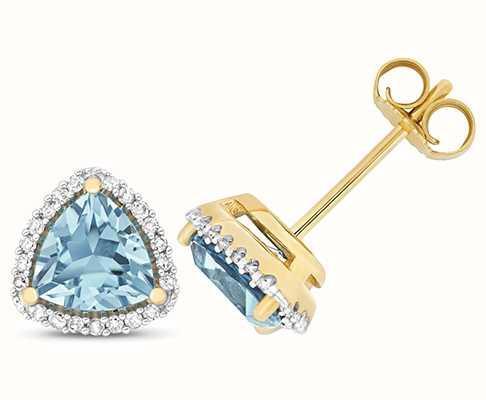 Treasure House 9k Yellow Gold Diamond Blue Topaz Trillion Stud Earrings ED256BT