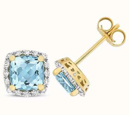 Treasure House 9k Yellow Gold Diamond Blue Topaz Stud Earrings ED257BT