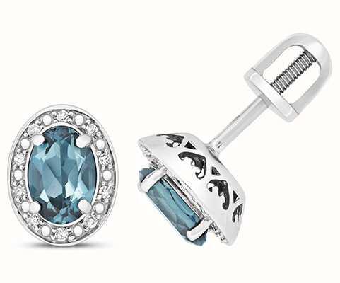 Treasure House 9k White Gold Diamond Blue Topaz Oval Stud Earrings ED258WLB