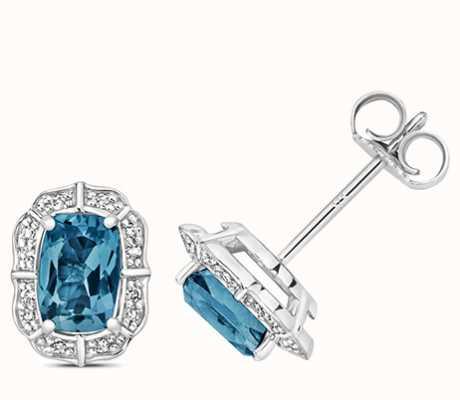 Treasure House 9k White Gold Diamond Blue Topaz Stud Earrings ED264WLB