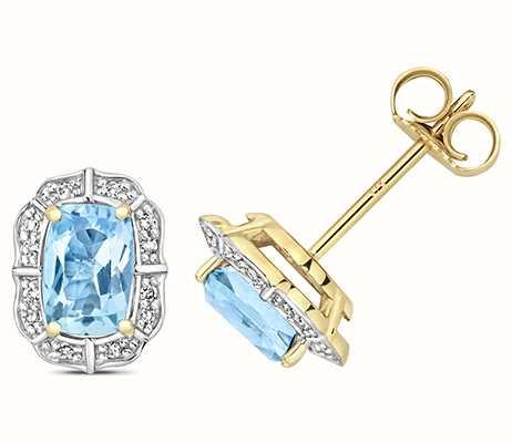 Treasure House 9k Yellow Gold Diamond Blue Topaz Stud Earrings ED264BT