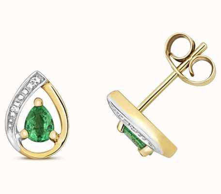 Treasure House 9k Yellow Gold Diamond Emerald Stud Earrings ED261E