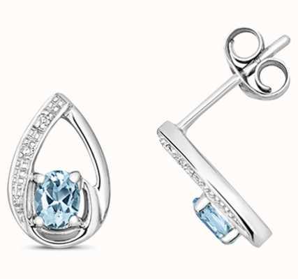 Treasure House 9k White Gold Diamond Aquamarine Stud Earrings ED262WAQ