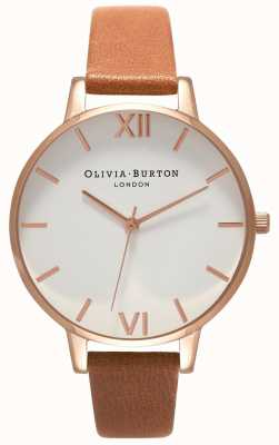 Olivia Burton | Womens | Big White Dial | Tan Leather Strap | OB16BDW19