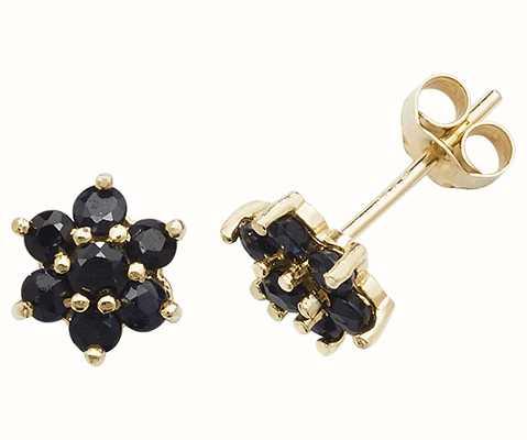 James Moore TH 9k Yellow Gold Sapphire Flower Stud Earrings ES544S