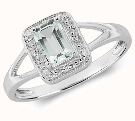 Treasure House 9k White Gold Diamond Aquamarine Ring RD502WS-AQUA