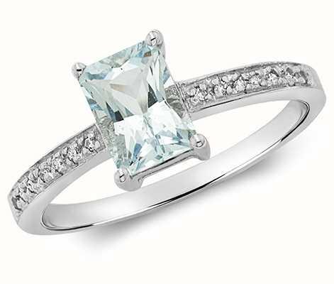 James Moore TH 9k White Gold Diamond Aquamarine Ring RD208WAQ