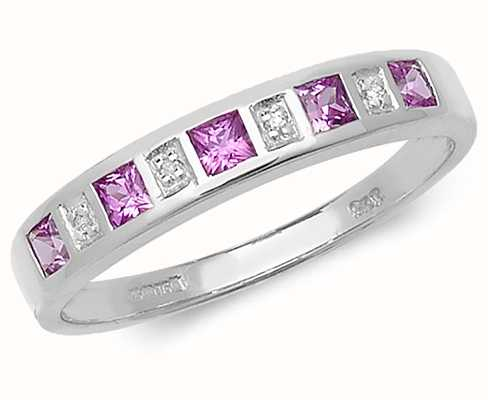 Treasure House 9k White Gold Pink Sapphire and Diamond Ring RD217WPS