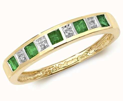 Treasure House 9k Yellow Gold Emerald and Diamond Ring RD217E
