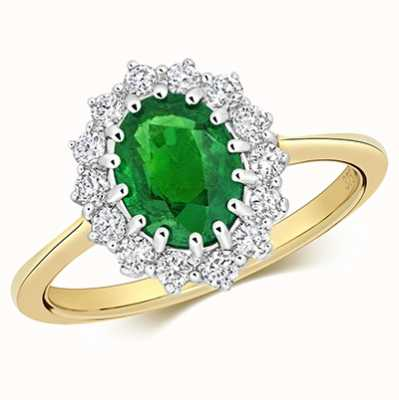 James Moore TH 9k Yellow Gold Emerald Diamond Cluster Ring RD280E