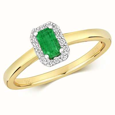 Treasure House 9k Yellow Gold Emerald Diamond Cluster Ring RD409E