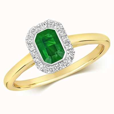 Treasure House 9k Yellow Gold Emerald Diamond Cluster Ring RD410E