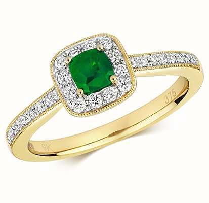 Treasure House 9k Yellow Gold Emerald Diamond Cushion Ring RD412E