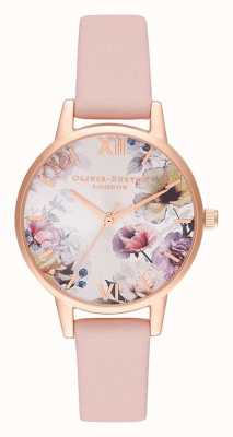 Olivia Burton | Womens | Sunlight Florals | Dusty Pink Leather Strap | OB16EG115