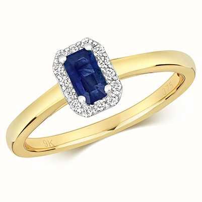 Treasure House 9k Yellow Gold Sapphire Diamond Octagon Ring RD409S
