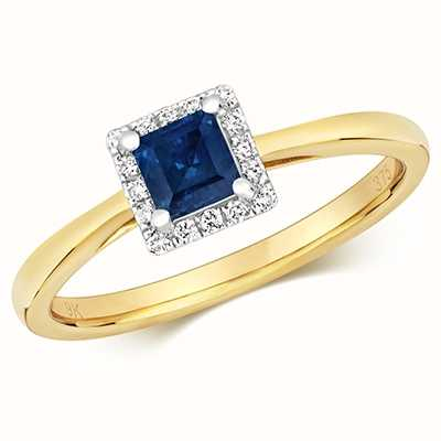 James Moore TH 9k Yellow Gold Sapphire Diamond Square Ring RD411S