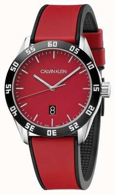Calvin Klein | Mens Complete Red Rubber Strap | Red Dial | K9R31CUP