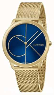 Calvin Klein Minimal | Gold Mesh Bracelet | Blue Dial | K3M5155N