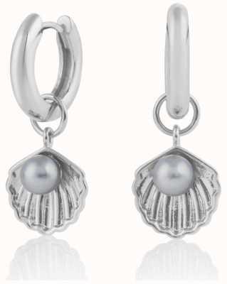 Olivia Burton   Under The Sea   Silver   Huggie Hoop Shell Earrings   OBJSCE07