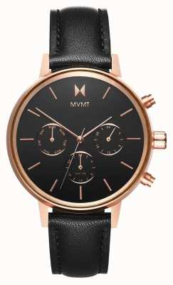 MVMT Nova Vela | Black Leather Strap | Black Dial D-FC01-RGBL