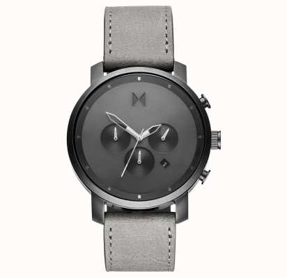 MVMT Chrono 45mm Monochrome | Grey Leather Strap | Grey Dial D-MC01-BBLGR